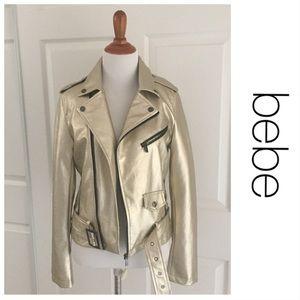 Jackets & Blazers - NWT bebe Gold Vegan Leather Motorcycle Jacket S